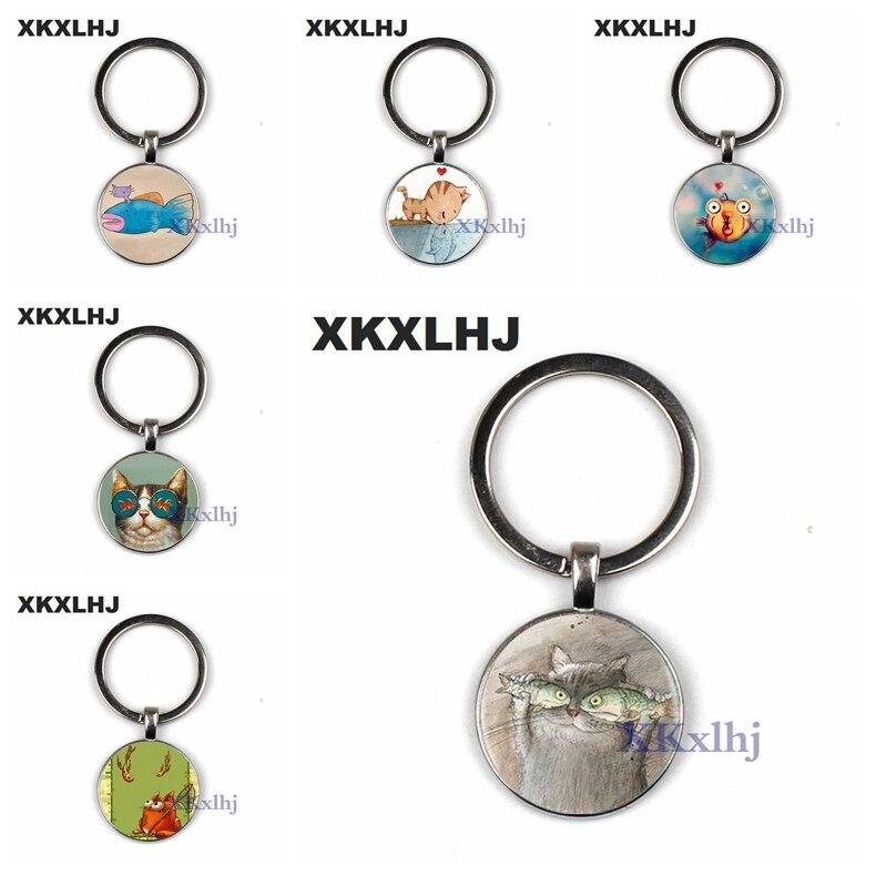 XKXLHJ Creative Fun Cat Fish Best Friend Key Chain Handmade Photo Glass Dome Metal Key Ring Cute Cartoon Animals Lovers Keychain