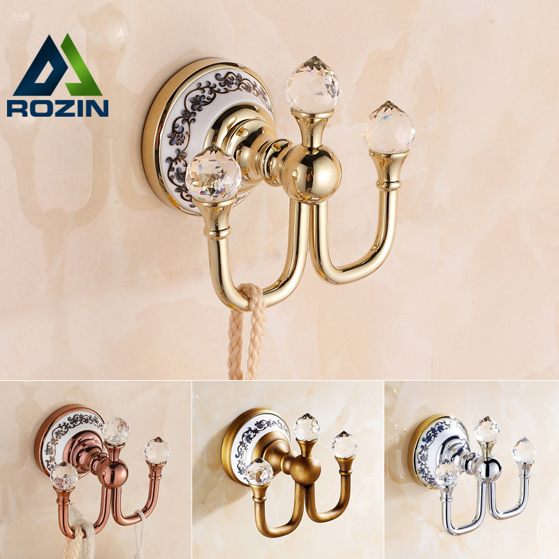 Free Shipping Crystal Robe Hook Clothes Hook Brass Chrome Bathroom Hardware Robe Hooks Bathroom Accessories