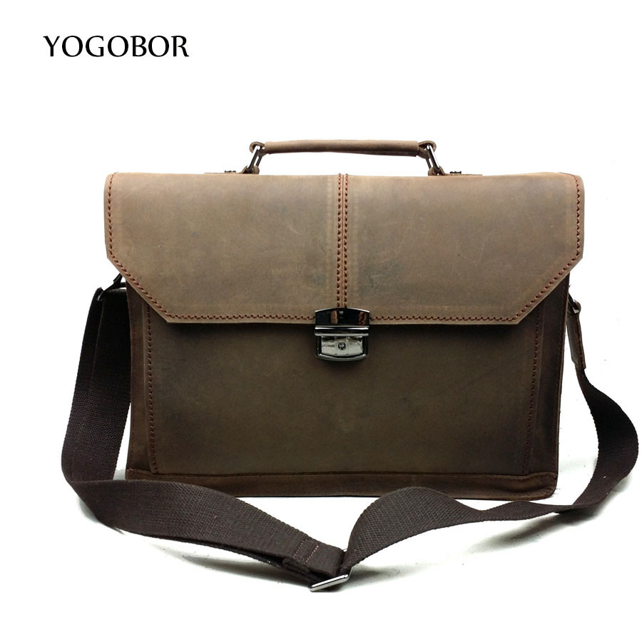 YOGOBOR New Genuine Leather font b Men b font font b Bag b font Business Briefcase
