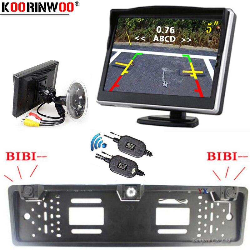 Koorinwoo EU Anzahl License Plate Frame Parktronic Wireless parkplatz Sensoren rückansicht kamera Fenster Monitor Halter KEINE Bohrer