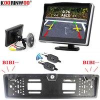 Koorinwoo número EU marco para matrícula Parktronic inalámbrica de sensores de aparcamiento para coche cámara de visión trasera ventana soporte para Monitor NO Taladro
