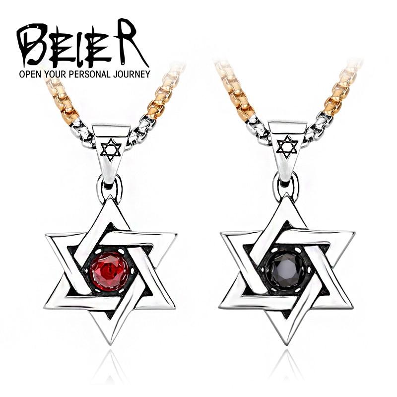 88fe3d6247b2 Collar de hexagrama clásico colgantes de moda de acero inoxidable Tituanium  joyería bonita para hombre y niño BP8-017