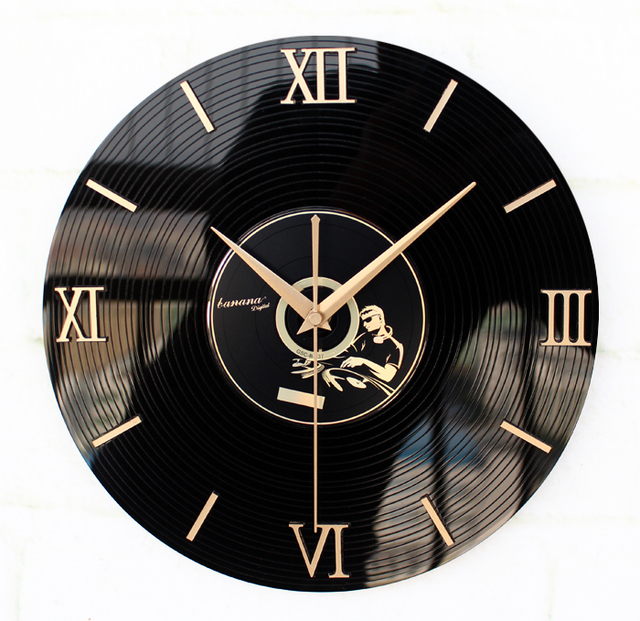 New Replacement electronic DIY wall clock mechanism design Home record music people vintage creative DJ watch classic black XM