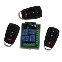 315 433MHz Remote Switch Control Wireless Light Switch 24V 4 Channels 4 Relays 1 Receiver 3Transmitters