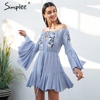 Simplee Sexy Off Shoulder Embroidery Jumpsuit Romper Women Flare Sleeve Ruffle Short Playsuit Casual Beach Summer