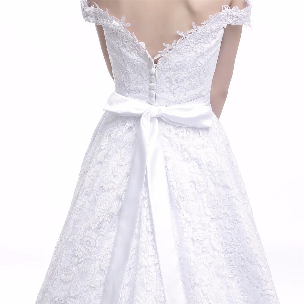 Eenvoudige echte foto trouwjurken chiffon a-lijn illusie open rug - Trouwjurken - Foto 6