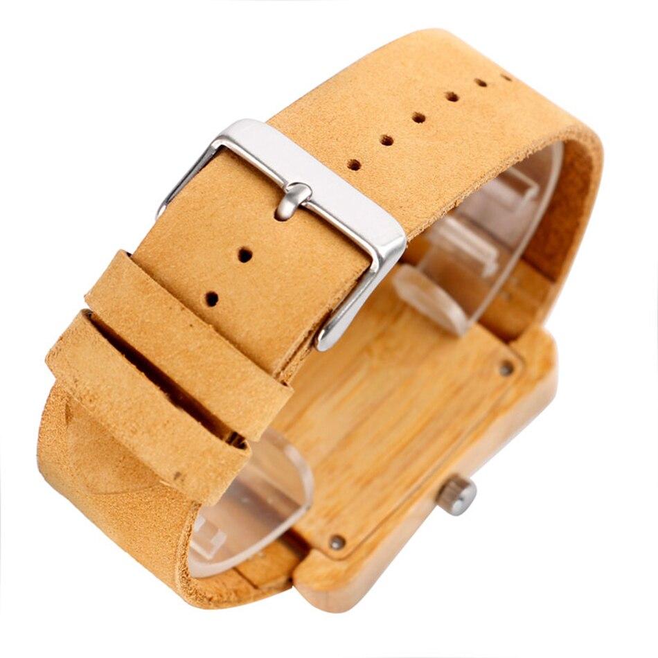 Minimalist Creative Wooden Watch Modern Woman Rectangle Dial Bamboo Leather Band Nature Wood Quartz Wrist Watch Reloj de madera (3)
