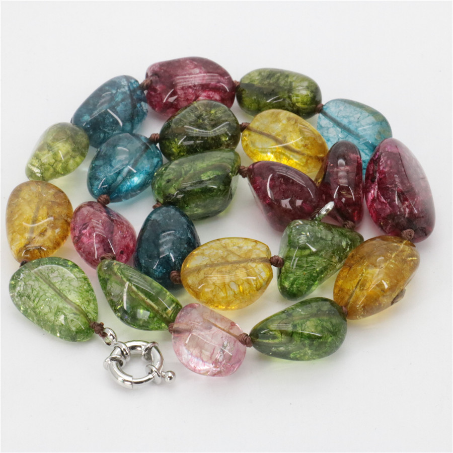 Multicolored Irregular All-match Jewelry 12-16mm Tourmaline Stone Necklace Girl Women Fashion Collocation Wholesale Price 18'' image