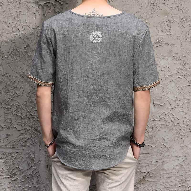 コットンリネン男性の中国風の Tシャツトッププラスサイズ半袖黒 V ネックマンストリート Tシャツ夏トップス男性