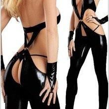 Черное кожаное нижнее белье, сексуальные боди, костюмы для женщин, ПВХ, эротическое трико, костюмы из латекса, боди, сексуальные товары