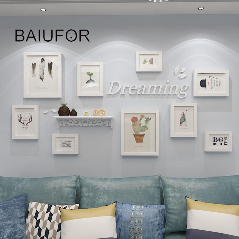 BAIUFOR Europa estilo 9 unids/set blanco nórdico, Marco pared foto ...