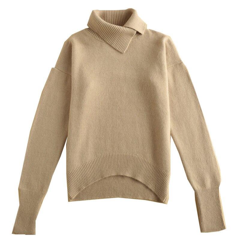 Chandail Lâche Pull Camel Grande Roulé caramel Conception Colour light Col Femmes Taille Rice Femme Cachemire Tan Tops Revers Pur light orange Épais Grey Haut XCtCq8w