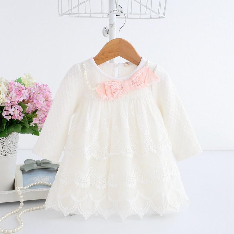 Retail 2018 spring autumn new newbrow dress cute bow lace princess dress o-neck long sleeve baby girls clothes vestidos de noiva