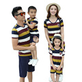 Free Shipping Cotton Summer Family Matching Outfits striped mother daughter dresses father son t shirt pants girl boy sets