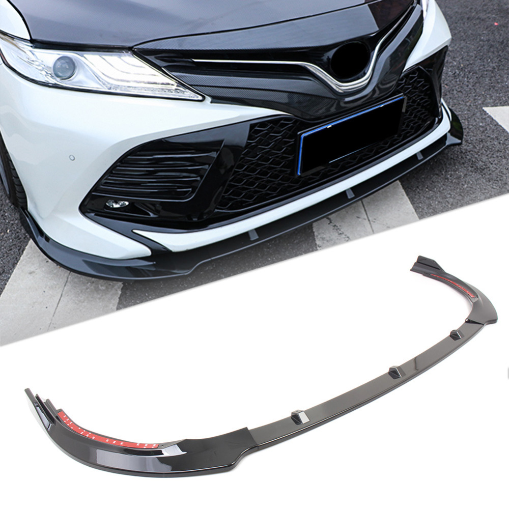 Car Front Bumper Lip Cover Trim For Toyota Camry 2018 SE Only Gloss Black ABS Plastic
