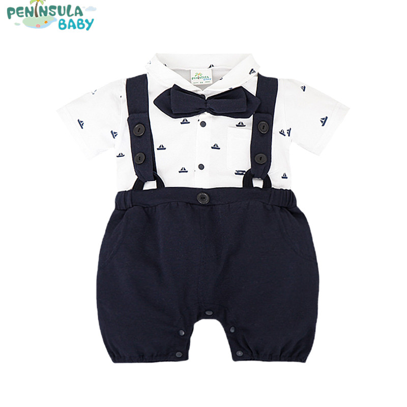 Fashion Gentleman Style Baby Boys Rompers False Two Pieces Overalls Infantil Newborn Cotton Turndown Collar Print Clothes