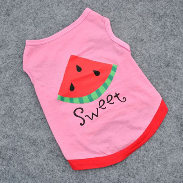 Summer Sweet Pets Clothes Little Dog Breathable T-shirt Puppy Letter Watermelon Vest