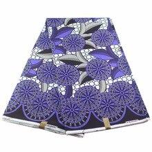 Фиолетовый хлопок гхановый Воск Принт Анкара ткань Африканский настоящий воск Ткань 6 ярдов