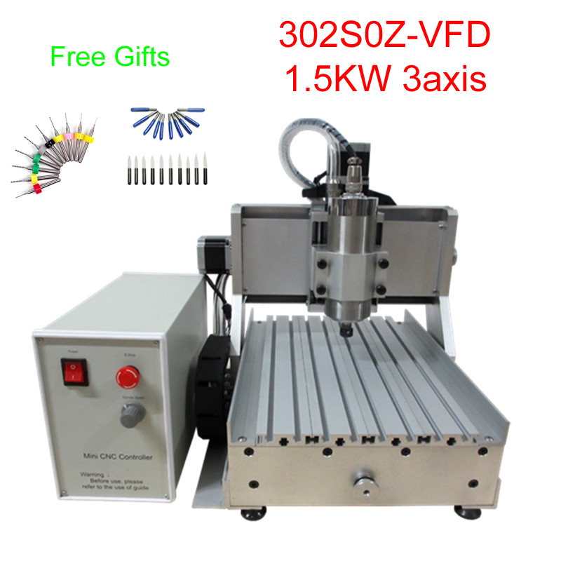 3axis CNC Mini Milling Machine 3020Z-VFD 1.5KW Cnc Engraving Machine Water-cooling Spindle