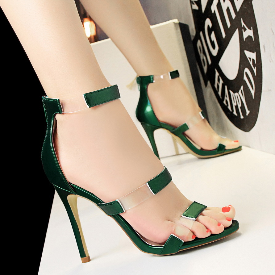 New Fashion Women Sandals Transparent PU Ankle Strap Sandals Thin Heels Peep toe Women High Heels Classic Women Shoes She ERA in High Heels from Shoes
