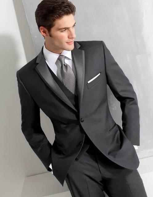 Online Shop Custom Made 3 Piece Men Suits Fashion Dark Grey Business ...