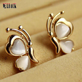 Free shipping 2015 Fashion women crystal jewelry gem peach heart butterfly white opal stud earrings gold  female