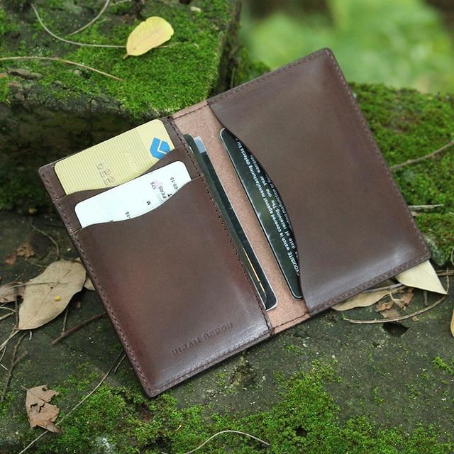 Hiram Beron Men Leather Card Holder Vegetable Tanned Leather Mini Wallet Free Customized card holder Genuine Leather Holder
