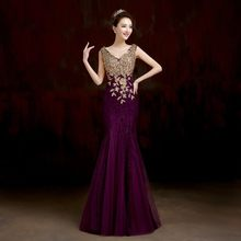 Sleeveless Elegant Party Floor Length Formal Red Royal Blue Mermaid V neck Luxury Crystal Long Prom mother of the bride dresses(China)