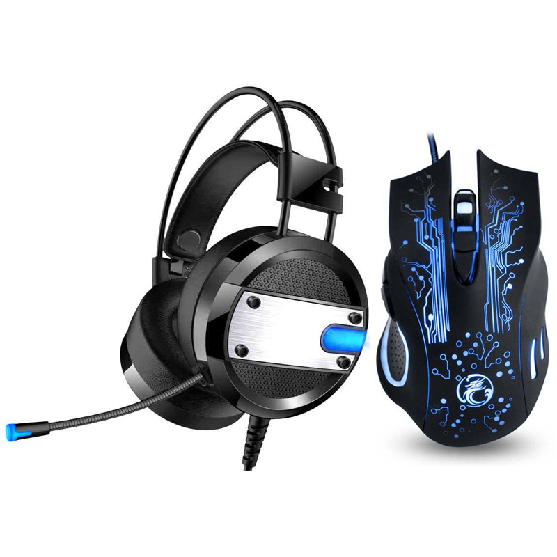 Cool LED Backlight Gaming Headphones Deep Bass Comfortable Computer Game Headset+6 Button 5000DPI Pro Gaming Mouse Mice