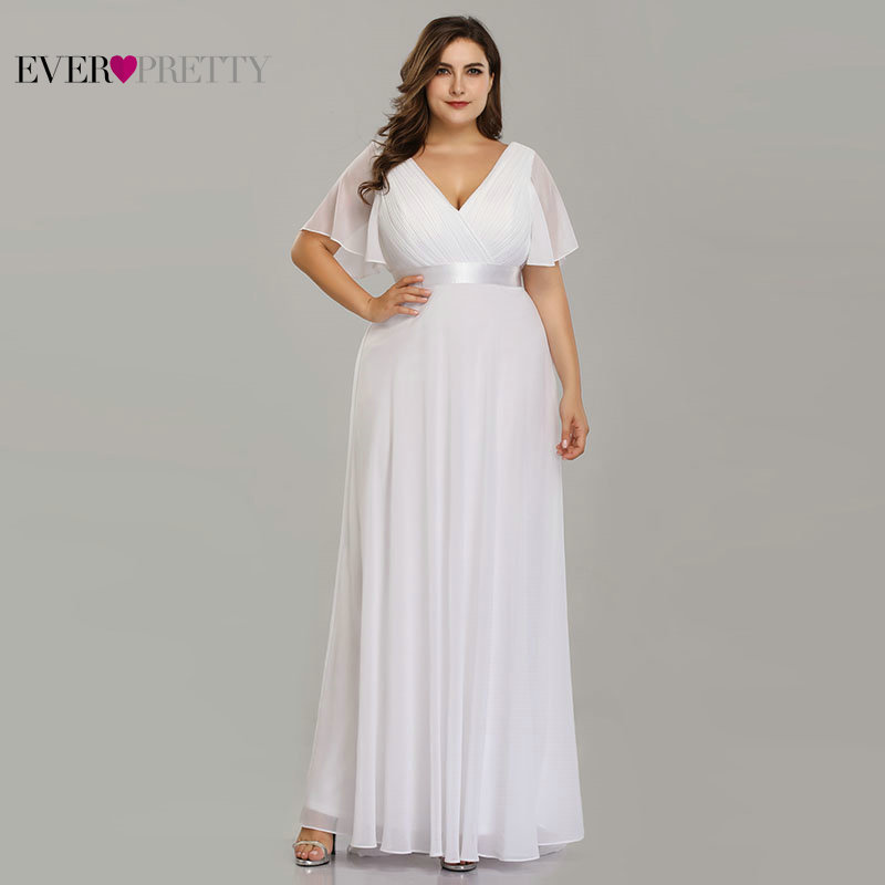 Plus Size Beach Wedding Dress 2020 Short Sleeve Elegant Chiffon Long Simple Mariage Wedding Gown Ever Pretty Vestido De Noiva