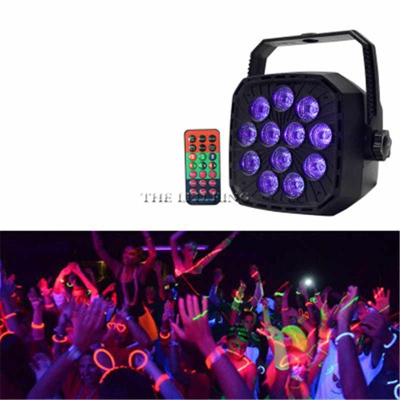 36W UV LED שלב אור צליל פעיל 12 נוריות אוטומטי DMX אולטרה סגול Strobe Par שחור אורות דיסקו אור DJ מסיבת מקרן
