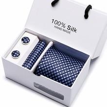 цена на New Plaid men ties set Extra 145cm*7.5cm Necktie navy blue Paisley Silk Jacquard Woven Neck Tie Suit Wedding Party group tie
