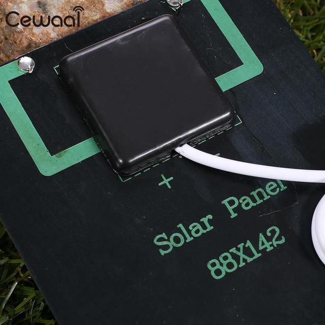 Cewaal USB Solar Panel 5W 5V Polysilicon USB Port Fast Charger Mobile Phone Portable Solar Generator 3