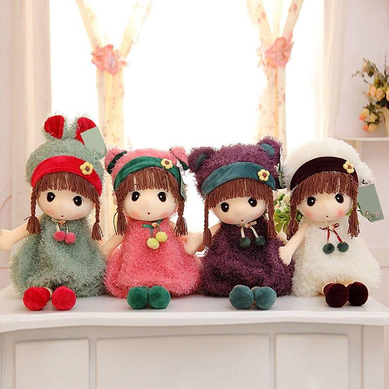 4 Color Cute Soft Plush Cartoon Girl Rag Dolly Cloth Doll Stuffed Toy  Kids Gift