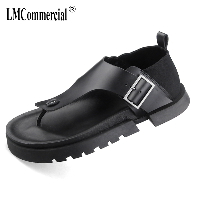 summer mens Roman sandals Sneakers Men Slippers Flip Flops casual Shoes beach outdoor all-match cowhide Leisure shoes male