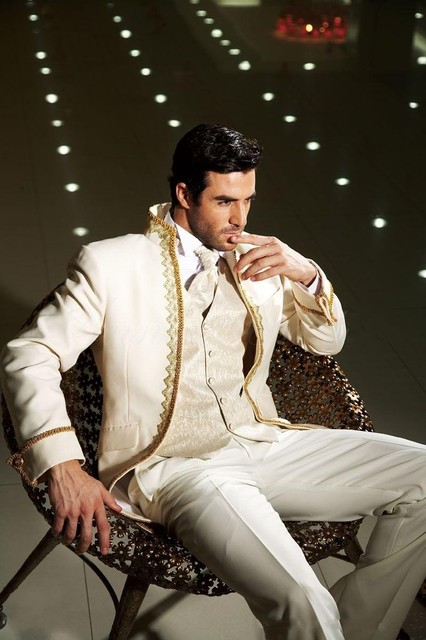 ba1dc75621dd Classic Design Ivory With Gold Brim Groom Tuxedos Groomsmen Men s Wedding  Prom Suits (Jacket+