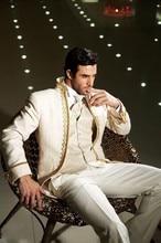 Классический Дизайн Кот с Золотой Брим Жених Смокинги для женихов Для мужчин свадебные костюмы для выпускного (куртка + Брюки для девочек + жилет + галстук) НЕТ: 091