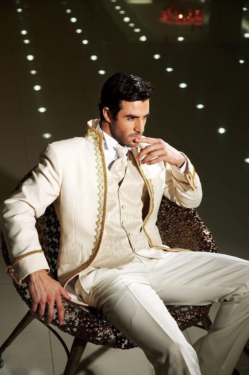 Classic Design Ivory With Gold Brim Groom Tuxedos Groomsmen Men's Wedding Prom Suits (Jacket+Pants+Vest+Tie) NO:091