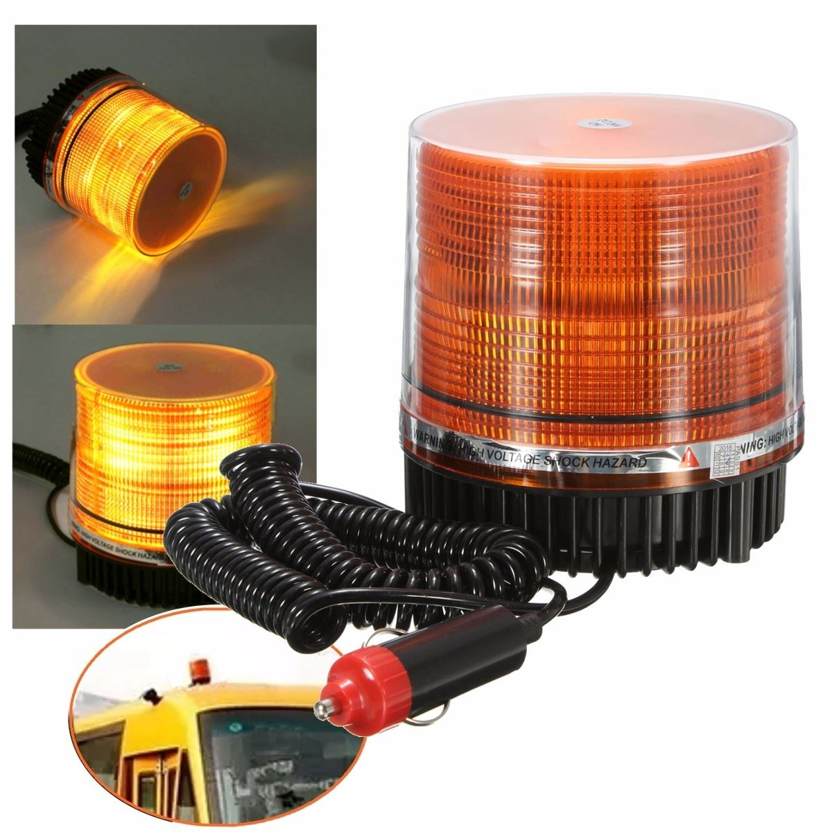 New DC12V LED Amber Car Truck Magnetic Mounted Vehicle Emergency Beacon Emergency Strobe Flashing Lamp