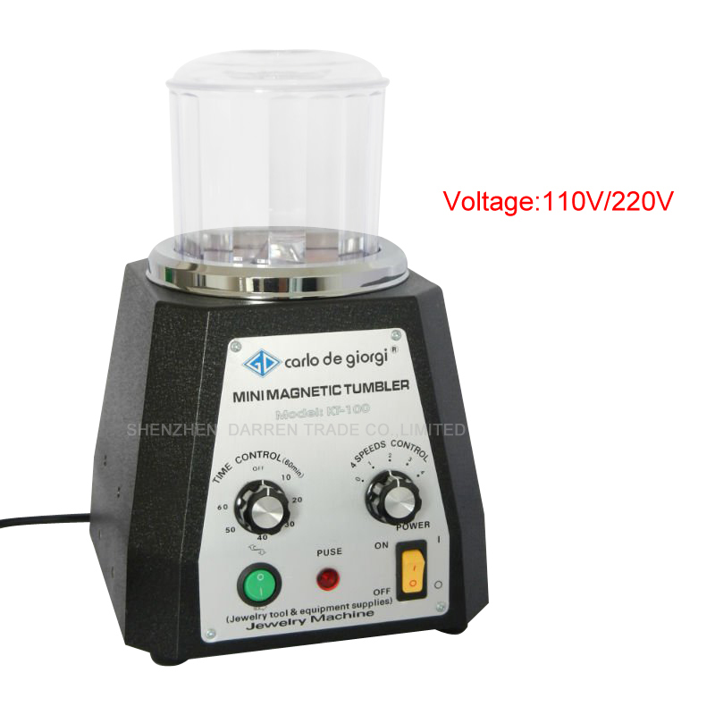 KT-100 MAGNETIC TUMBLER - with 100g magnetic pins for free. JEWELRY POLISHER & FINISHING TOOL - 220V Magnetic polishing machine