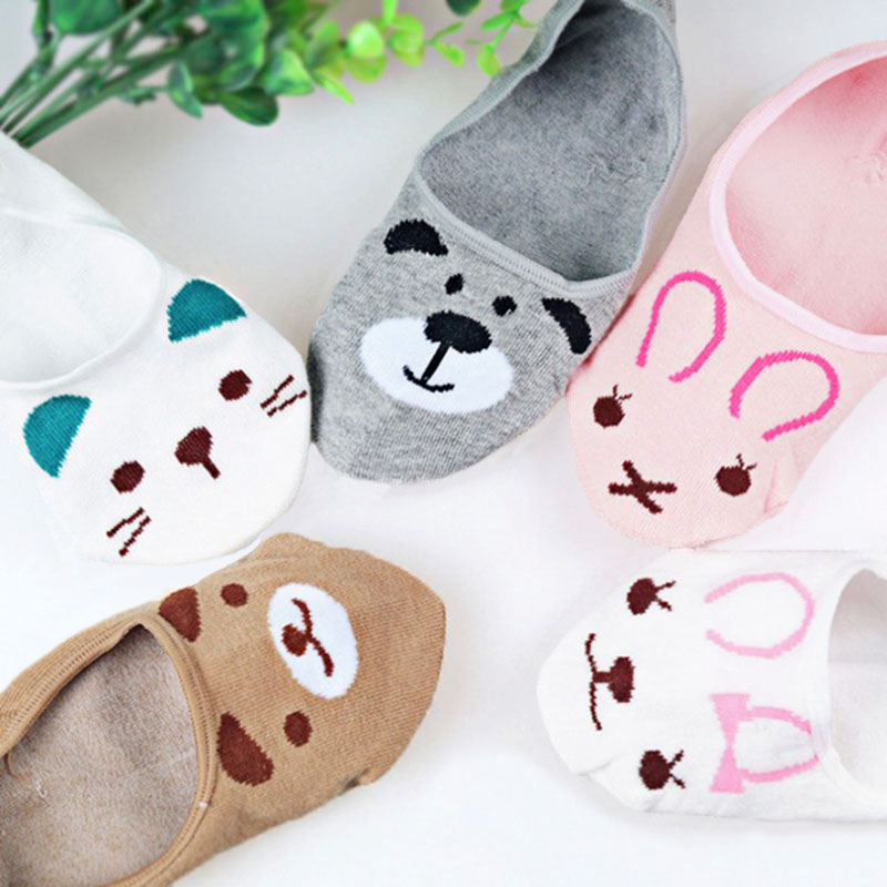Spring Summer Cotton comfortable Cartoon Animal dog Invisible ankle boat Socks Puppy Woman girl Cute Kawayi socks 5 pairs