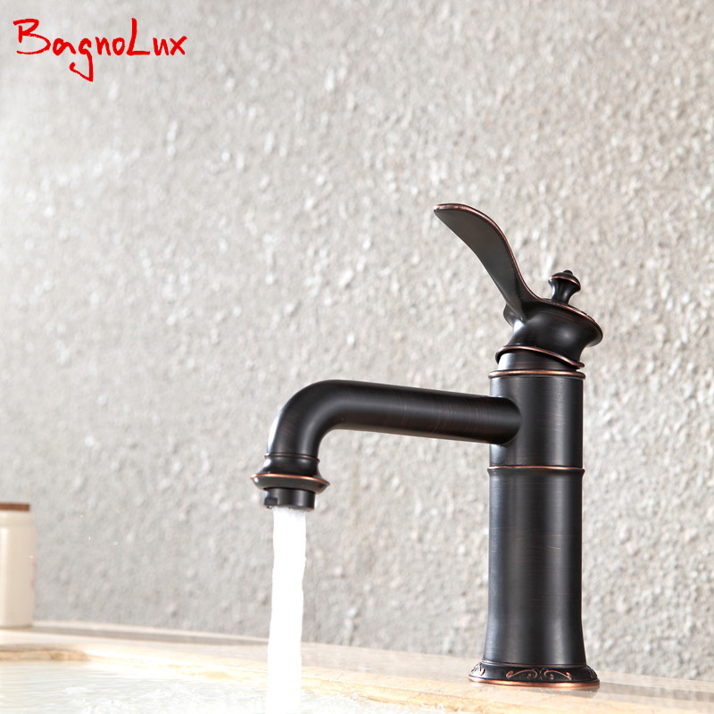 Bagnolux Unique Design High Quality Oil-rubbed Bronze Color Brass Faucet Bathroom Faucet Basin Mixer Tap with Hot and Cold Sink new arrival total brass high quality unique design black finished hot and cold basin faucet sink faucet bathroom basin tap