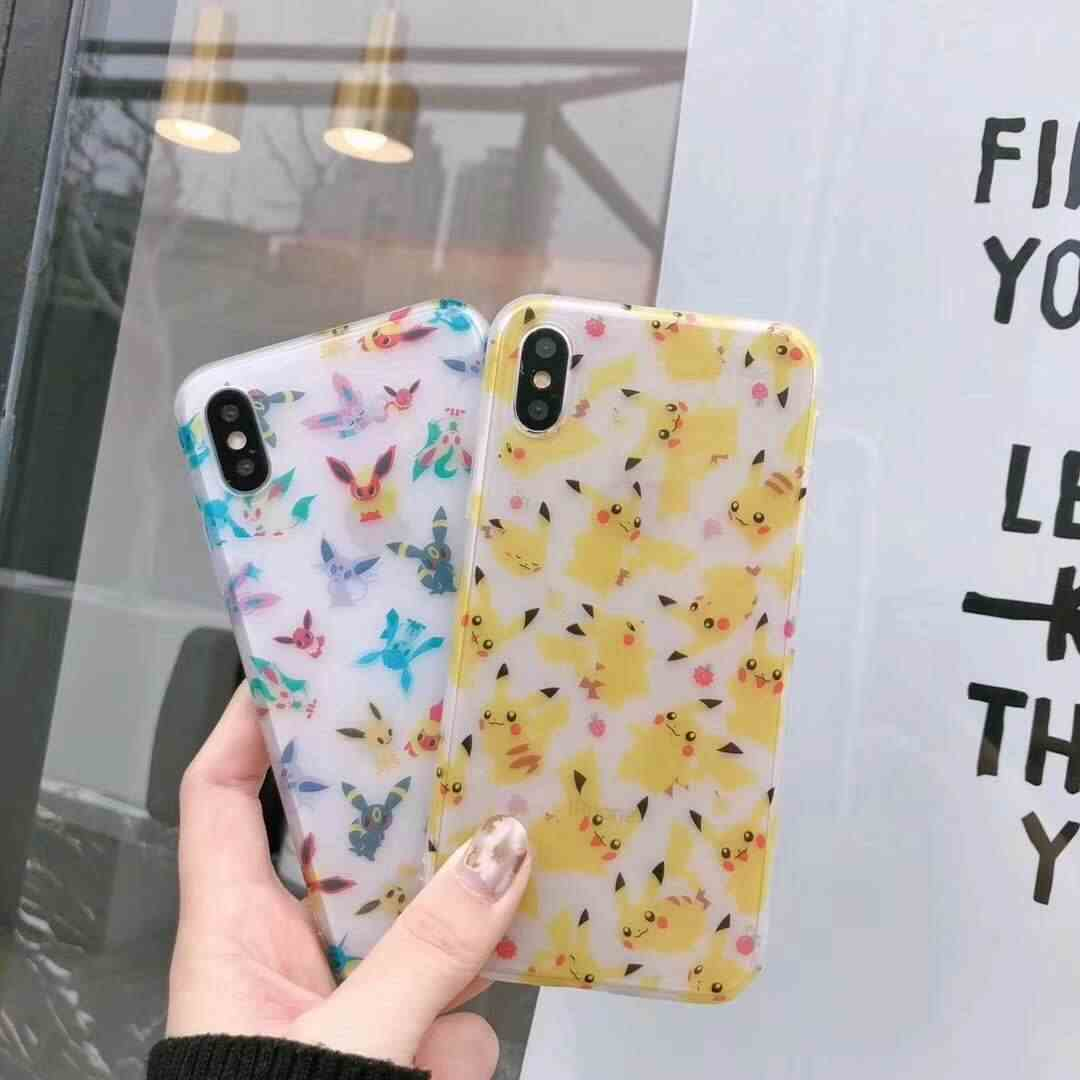 Glossy Cartoon Pokemon Phone Case For iPhone 6 6Plus 6s 6sPlus 7 7Plus 8 8Plus X 10 Cute Pikachu Transparent Hard Back Cover