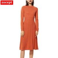 Sweater Dress Women 2019 Autumn Winter England Style High Grade 100% Goat Cashmere Fluffy Striped Knit Pleated Long Dresses