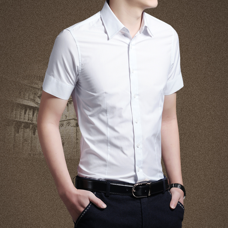 Slim fit short sleeve shirts for men greek t shirts for Mens formal white shirts