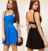 2014 new women's clothing female sexy nightclub fashion condole backless dress short strap dress
