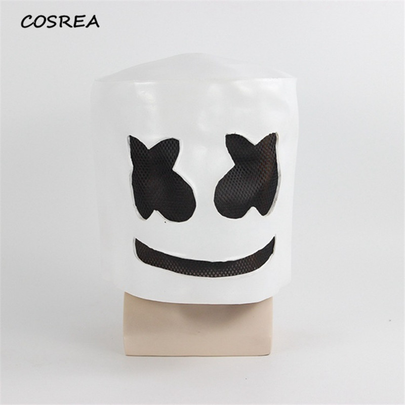 DJ Marshmello Mask Full Face Cosplay Costumes Adult Halloween Carnival Party Decoration Props Latex Headdress Accessories Helmet