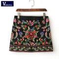 Mulheres da moda vintage floral preto bordado zíper lateral mini a-line skirt 2017 nova escola estilo fino designer de marca saia