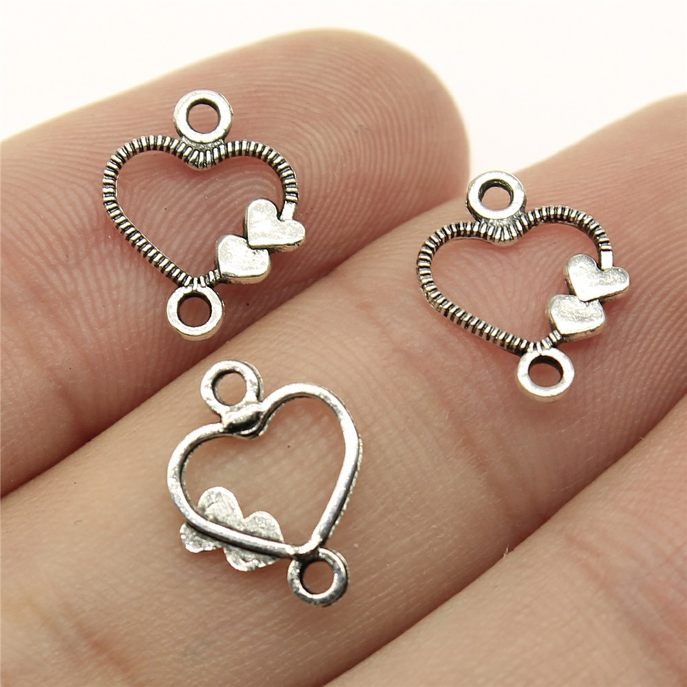 WYSIWYG 120pcs 13x10mm Heart Earring Connectors For Jewelry Making Small Heart Earrings Accessories Tiny Hearts Connector skagen skw2189