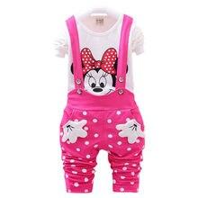Новинка года, весенний комплект одежды для маленьких девочек, комплект одежды с Минни Маус для маленьких девочек, футболка с длинным рукавом+ комбинезон, Детская осенняя одежда для девочек